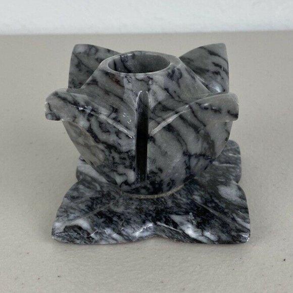 Vintage Carved Gray Black Marble Flower Candlestick Taper Candle Holder